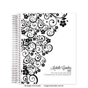 Magic Planner tamanho Large com espiral prata - Ornamentos branco e preto