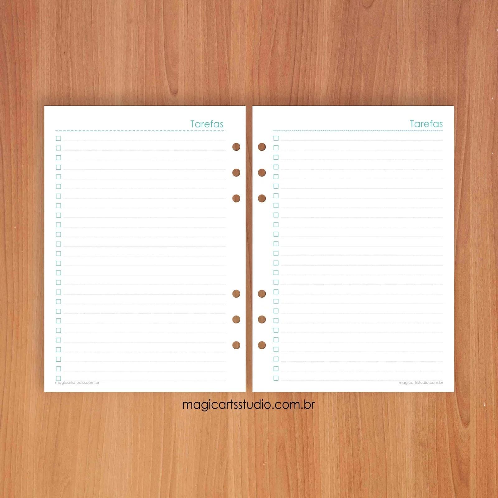 Insert - refil lista de tarefas turquesa