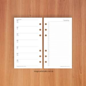 Insert semanal horizontal com lista de tarefas - personal