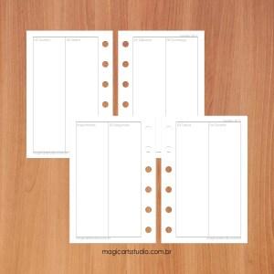 Insert / refil semanal em quatro páginas vertical com importante tamanho Pocket