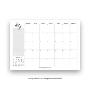 Planner de mesa dezembro 2020 cinza