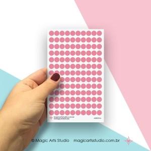 Cartela de adesivos bolinhas rosa