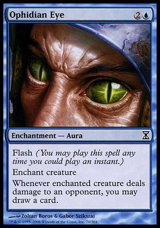 Destello (Puedes jugar este hechizo en cualquier momento en que pudieras jugar un instantáneo.)  Encantar criatura.  Siempre que la criatura encantada haga daño de combate a un oponente, puedes robar una carta.