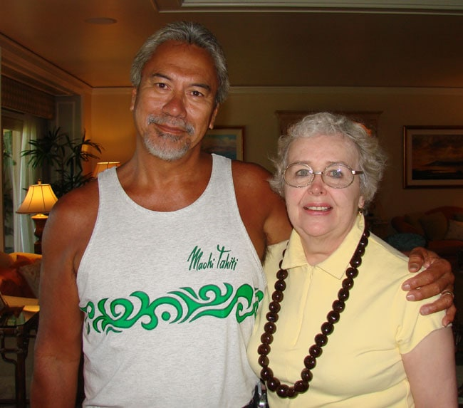 Voyager, Bill Richards, member of the Polynesian Voyaging Society, with Maxine George.