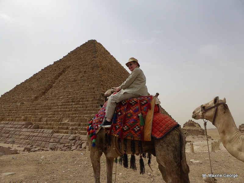 Maxine George on Camel, Great Pyramids Egypt