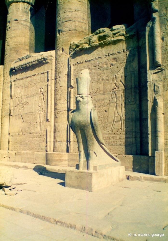 Horus guards the entrance temple at Edfu