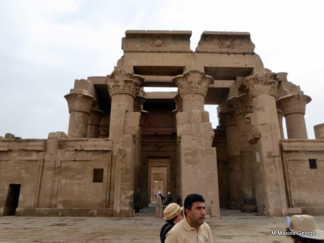 Our guide explains the double temple at Kom Ombo