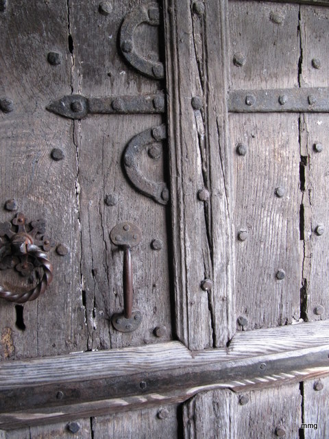 Believed to be the original wooden door on the Skirrid Mountain Inn - Carbon dated to predate the written history of the Inn. Photo by M. Maxine George