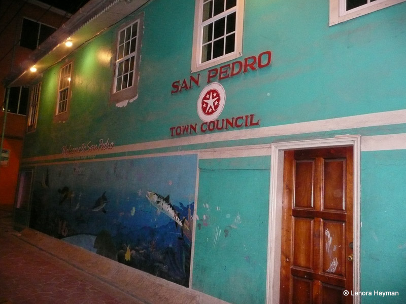 Brightly painted San Pedro Town Council building