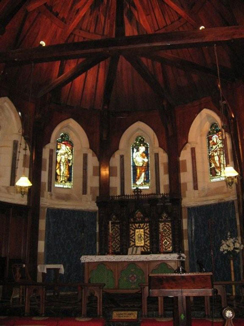 Inside Chapel of St Barnabas, Norfolk Island Photo courtesy of Barry and Heather Minton The famous Rose Window at St Barnabas, Norfolk Island Photo by Barry and Heather Minton