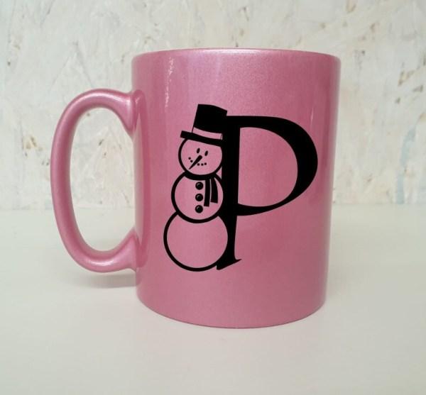 Beker roze sneeuwpop