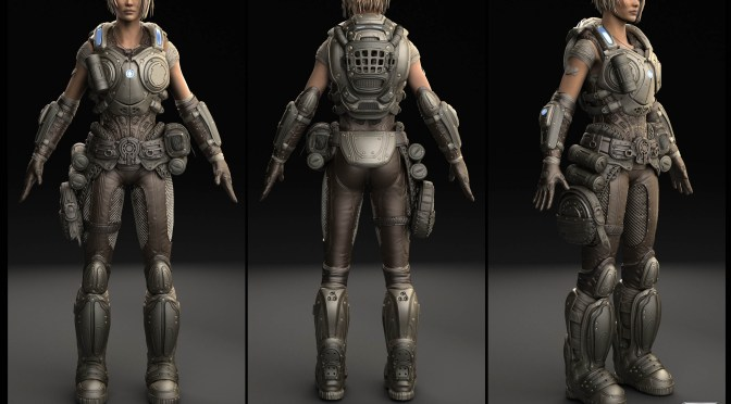 3D model of a female character in gears of war