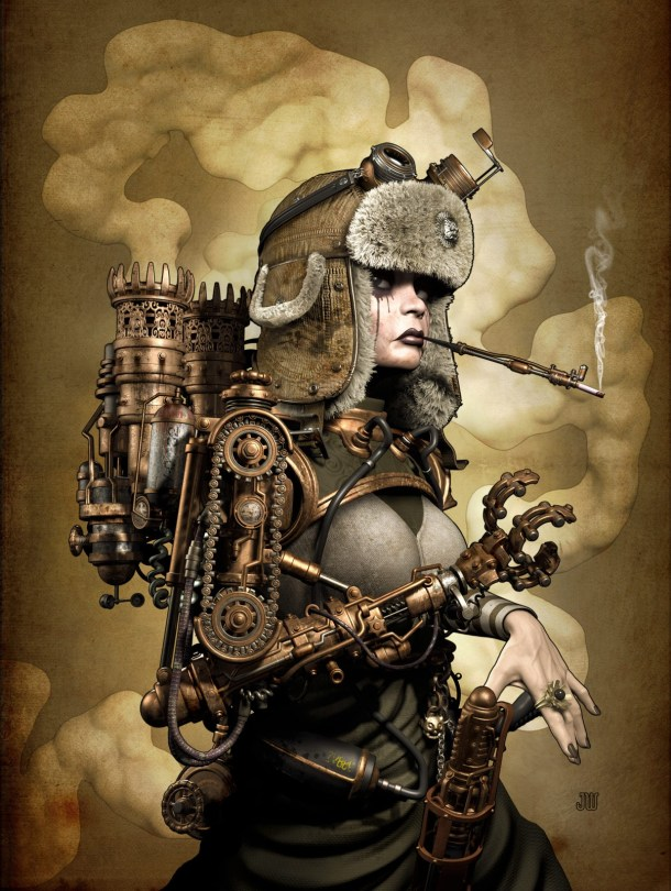 A 3d fashion character with a steampunk style