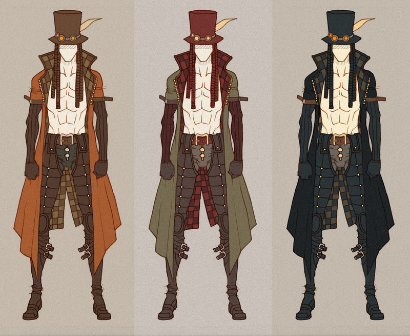 Concept art with steampunk characters