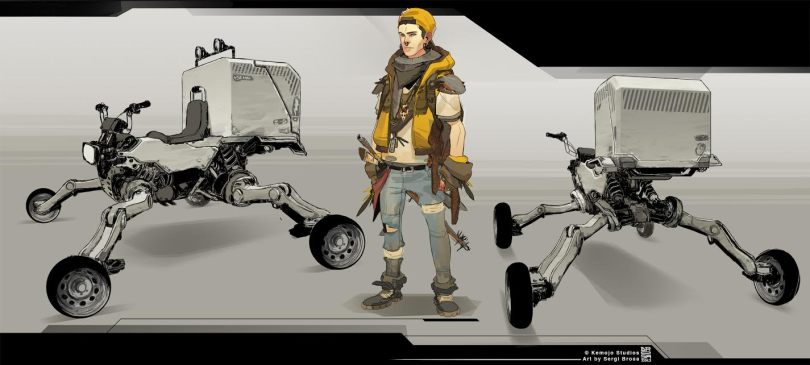 A drawing of a man and vehicles by Sergi Brosa