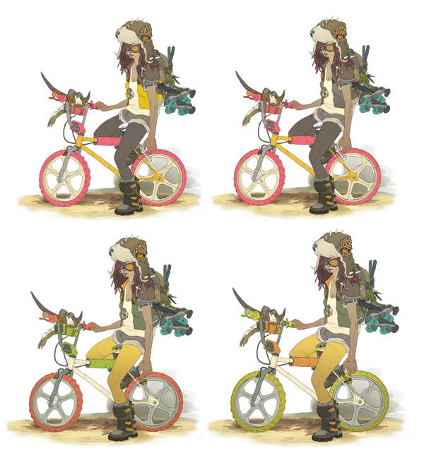 Character riding a bike in a punk outfit