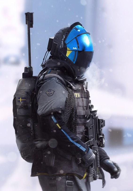 A 3D character by Joseph Cross holding a gun