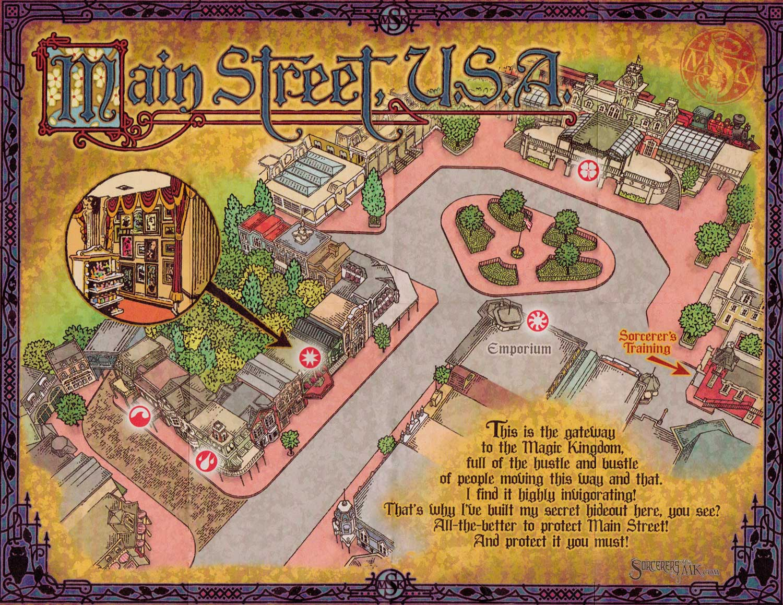 Sorcerers of the Magic Kingdom Main Street USA Map