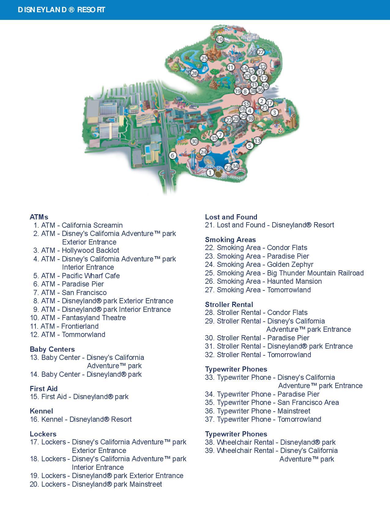 Disneyland Guest Services Map