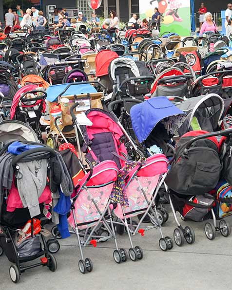 group of strollers at disney world