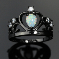 Black Crown White Fire Ring | Magick Jewelry