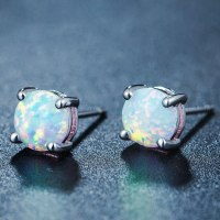 White Fire Opal Stud Earrings | Magick Jewelry