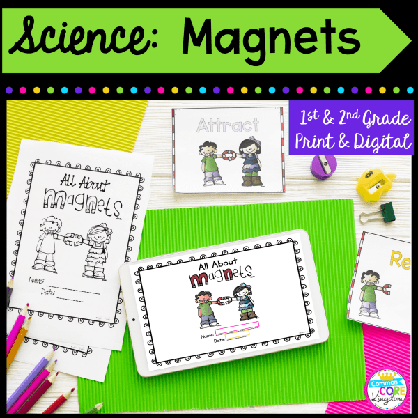 1st and 2nd Grade Science: Magnets cover showing printable and digital resources