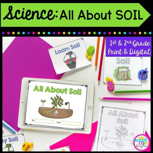 Science: All About Soil for 1st & 2nd Grade Cover showing printable and digital worksheets