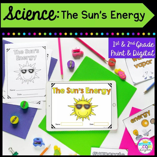 Science: The Sun's Energy for 1st & 2nd Grade Cover showing printable and digital worksheets