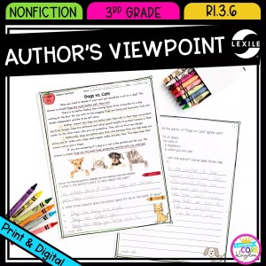 Author's Point of View in Nonfiction for 3rd grade cover showing printable and digital worksheets