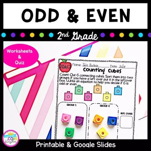 Cover for Odd and Even 2nd grade math resource showing images of math worksheets with text saying printable & google slides