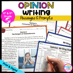 Opinion Writing Passages and Prompts for 4th & 5th Grade Cover showing printable and digital passages