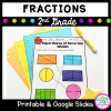 Fractions for second grade resource cover showing partitioning shapes worksheets with text that says printable and google slides versions available