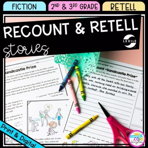 Recount and Retell cover for 2nd & 3rd Grade showing printable and digital worksheets