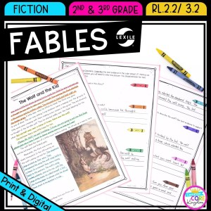 Recounting stories: fables for 2nd and 3rd grad cover showing printable and digital worksheets
