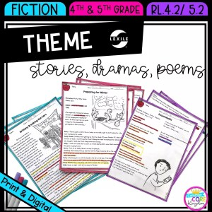Theme in Stories Plays and Poems for 4th & 5th grade cover showing printable and digital worksheets