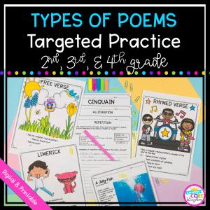 Types of Poems - Poetry Targeted Practice Unit - Printable & Digital