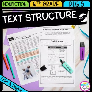 Text Structure for 6th grade cover showing printable and digital worksheets