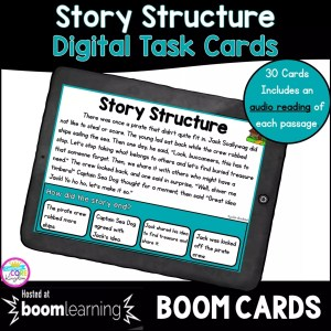 Cover for Digital Task Cards showing a story structure boom card for 2nd and 3rd grade