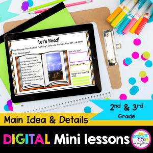 Main idea and details mini lessons for 2nd and 3rd grade cover showing digital reading worksheets