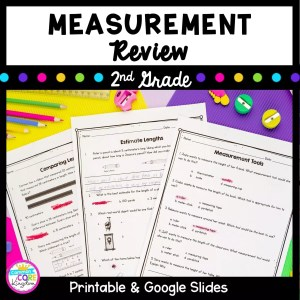 Cover for Measurement Review resource for 2nd grade showing images of three measurement worksheets and text saying printable and digital versions