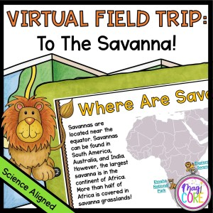 African Savanna virtual field trip cover showing a map of Africa on an ipad