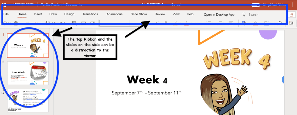 Image showing the menu in a powerpoint file