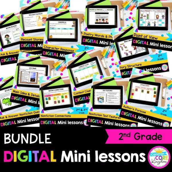 2nd Grade Digital Mini Reading Lessons Bundle cover showing digital worksheets