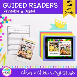 Cover for RL.2.3 character response guided reader showing printable and digital lexile leveled reading comprehension resources