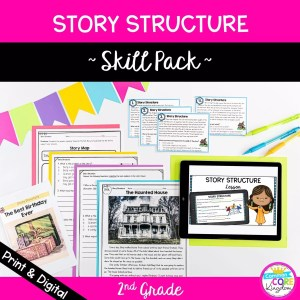 Story Structure Skill Pack for 2nd grade cover showing digital and printable resources