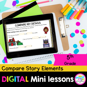 Cover for RL.5.3 Digital Lessons showing a google slides distance learning lesson on a tablet focused on comparing story elements