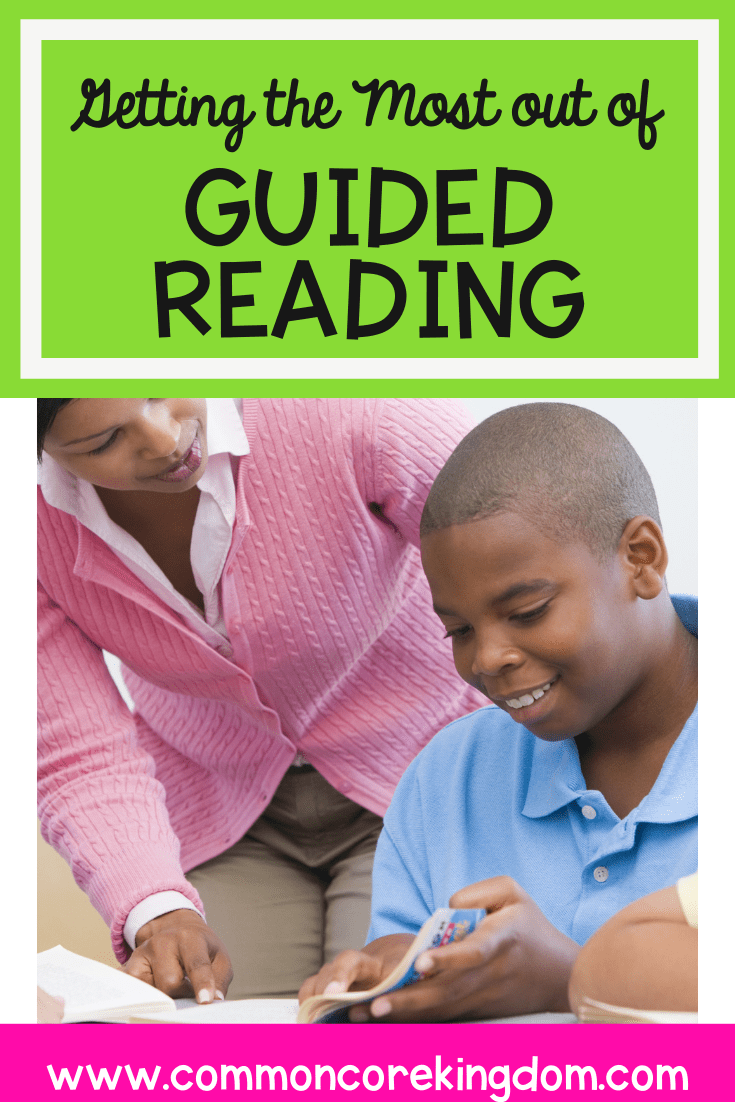 Guided reading blog cover showing a teacher and a boy with a blue shirt in a guided reading group