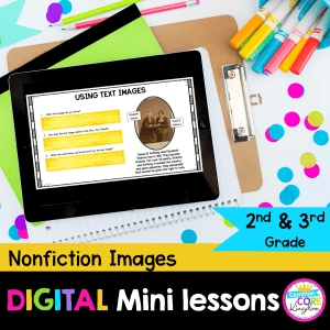 RI.2.7/3.7 Nonfiction Images Digital Mini Lesson Cover displaying digital resource being used on Google Slides