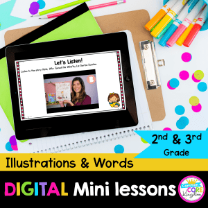RL.2.7/3.7 Illustrations and Words Digital Mini Lesson Cover showing use of digital resource in Google Slides on iPad